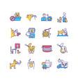 pet service rgb color icons set vector image