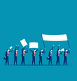 protest men holding flags in a row concept vector image vector image