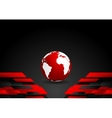 Red black tech contrast background with earth vector image vector image