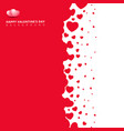 red hearts futuristic random size on white vector image vector image