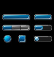 set blue glossy buttons for user interface vector image
