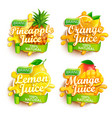 set fresh juices logo vector image vector image