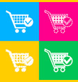 shopping cart with check mark sign four styles of vector image vector image