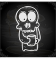 Skeleton with Coffee Drawing on Chalk Board vector image vector image