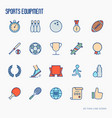 sport equipment thin line icons set vector image vector image