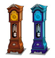 stylish antique grandfather clocks made of wood vector image vector image