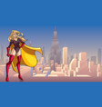 superheroine standing tall in city vector image vector image