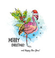 tropical merry christmas flamingo in santa hat vector image