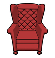 vintage red leather armchair view front vector image