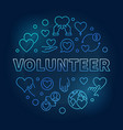 volunteer blue round outline modern vector image vector image