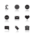 Web store drop shadow icons set vector image vector image