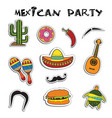 mexican party sticker applique set vector image