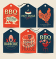 barbecue party stickers bbq template menu design vector image