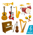 musical instruments isolated icons vector image