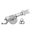 an ancient cannon with gun cores vector image vector image