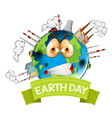angry polluted earth icon vector image