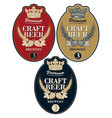 beer labels with wheat ears hops and crown vector image vector image