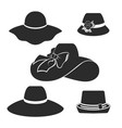 black hats icons set vector image vector image