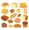 cartoon bakery products toast bread french roll vector image