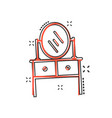 cartoon furniture table with mirror computer icon vector image