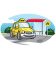 cartoon of taxi car vector image vector image
