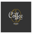 coffee bean logo with vintage coffee lettering on vector image vector image