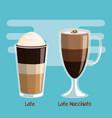 coffee latte and latte macchiato beverage in glass vector image vector image