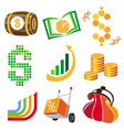 collection of icons of finance money vector image
