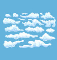 collection white differently shaped clouds vector image
