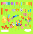 color glossy happy birthday balloons vector image