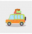 colored modern car with luggage on roof isolated vector image