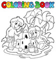 coloring book with summer theme 1 vector image vector image