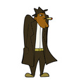 comic cartoon man in hat and trench coat vector image vector image