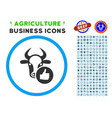 cow thumb up rounded icon with set vector image vector image