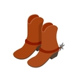 Cowboy boot isometric 3d icon vector image vector image