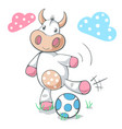 cute funny cow play soccer football vector image