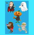 cute halloween monster cartoon vector image