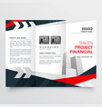 Elegant red black business trifold brochure vector image
