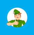 elf santa helper thumbs up and winks emoji new vector image