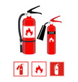 fire extinguishers in realistic style and flat vector image vector image