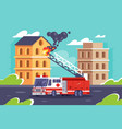 flat fire station car puts out a flame buildings vector image vector image