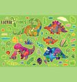 floral dinosaurs bright sticker set vector image