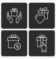 gift box icon set on black background vector image