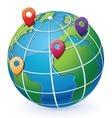 Globe with location pointers vector image vector image