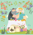 grandmother and grandfather have lunch in blossom vector image vector image