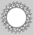 grey and white laurel floral wreath frame on black vector image vector image