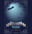 halloween invitation with bats in full moon light vector image