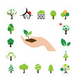 hand and tree symbol set vector image vector image