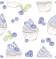 hand drawn blueberry cupcake seamless pattern vector image vector image