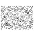 hand drawn of gift boxes with ribbons background vector image